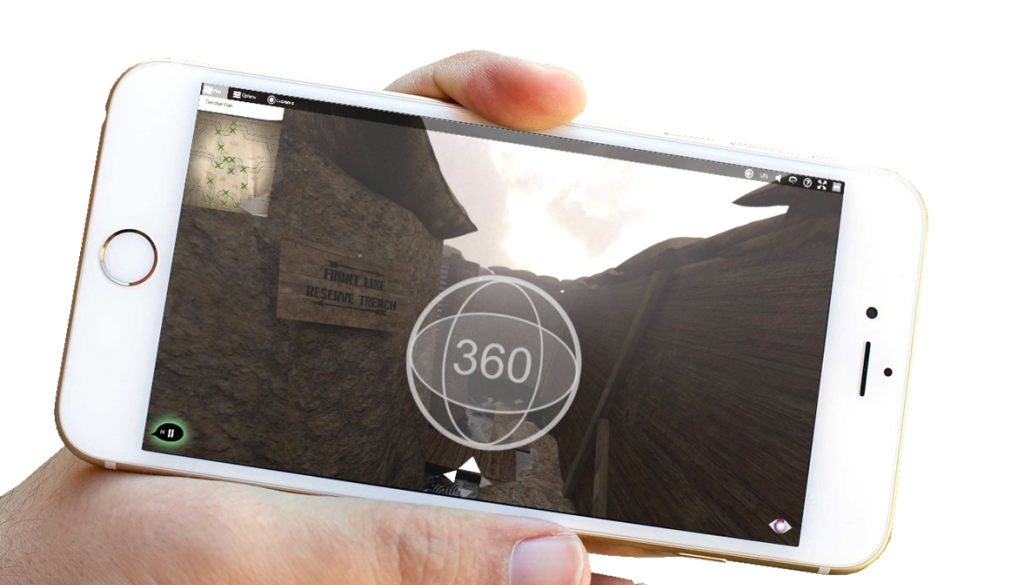 An iPhone with the trenches virtual tour shown on the screen