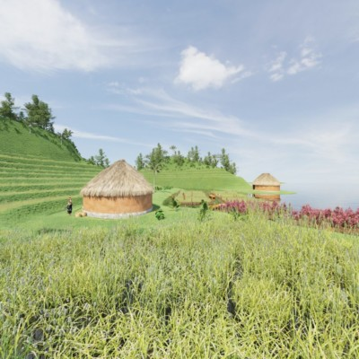 A CGI recreation of a Maya farm depicting terrace farming and early housing