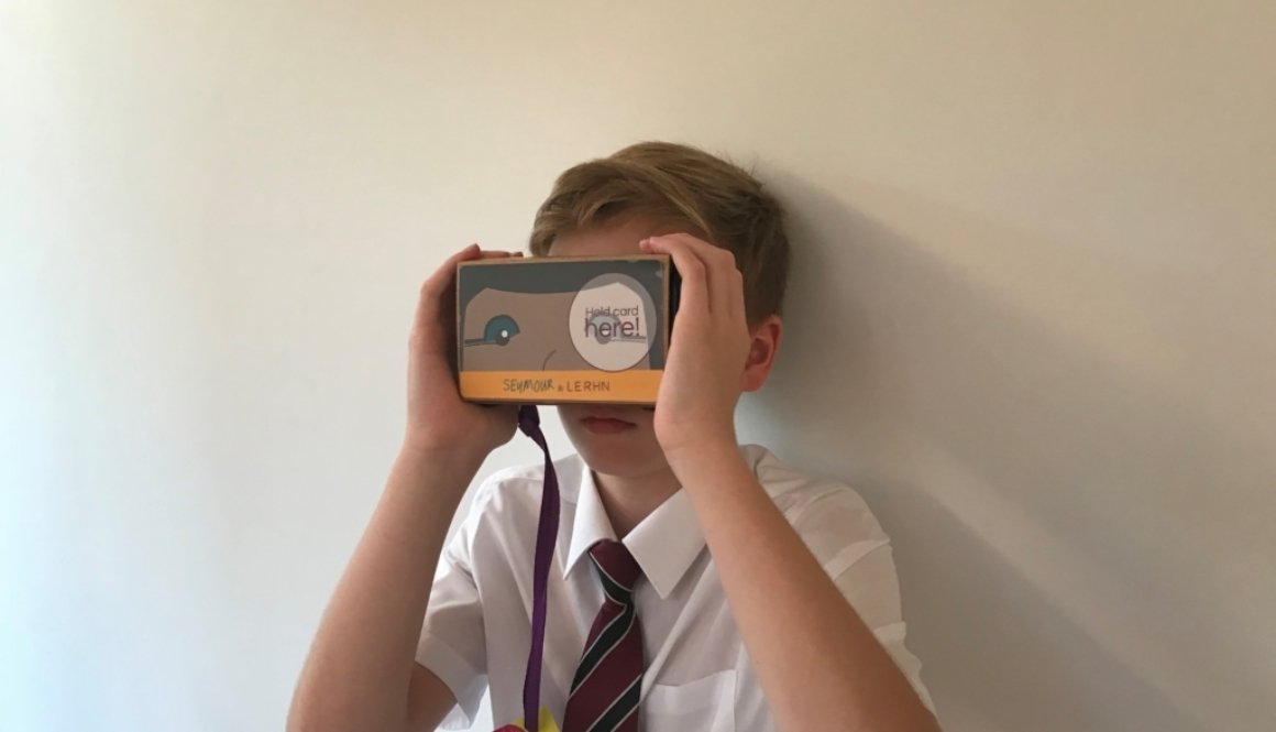 school pupil using virtual reality headset