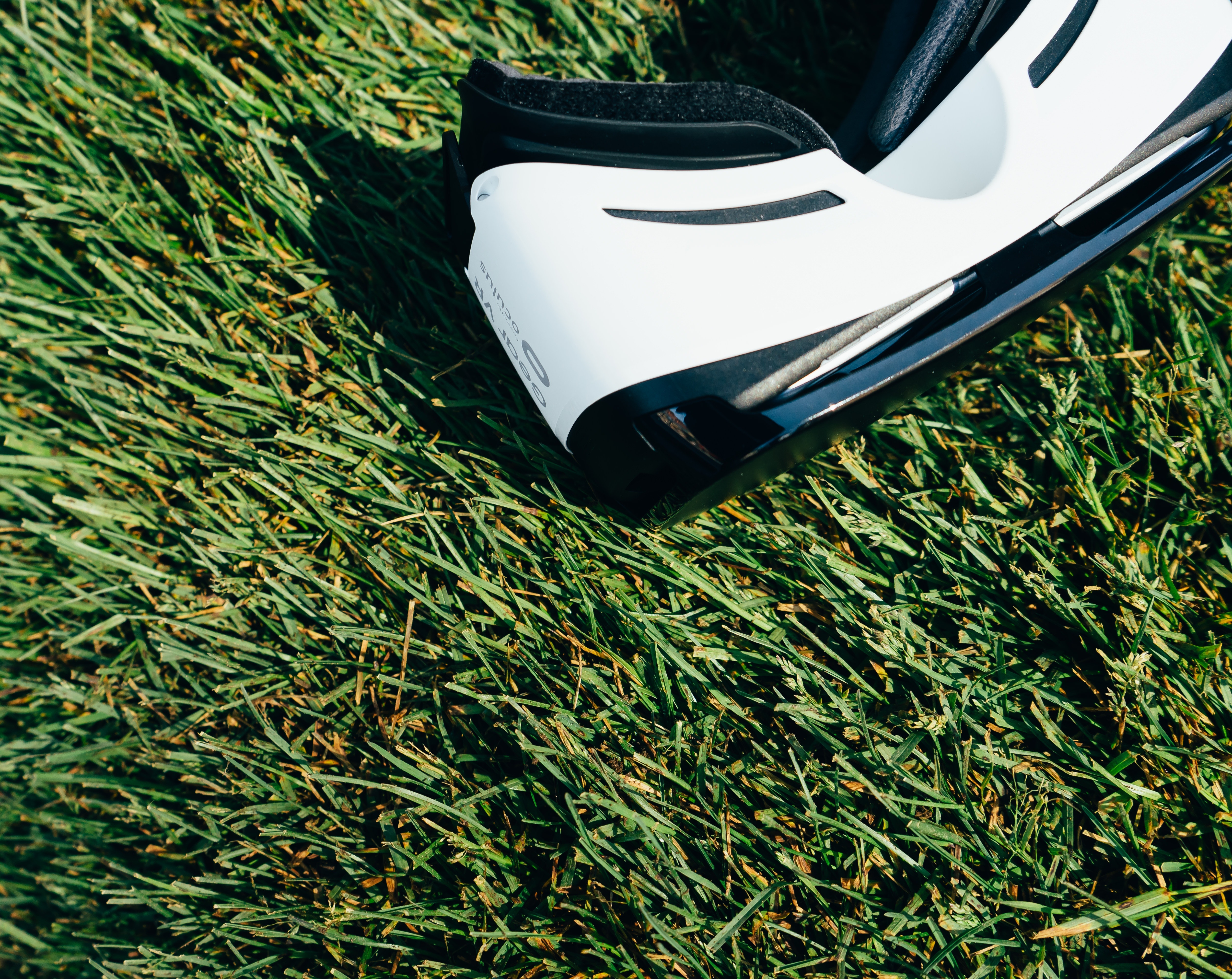 vr headset on grass
