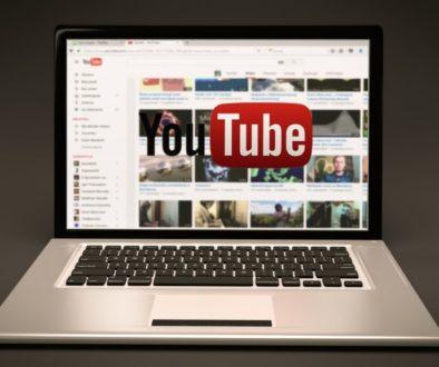 YouTube logo on laptop