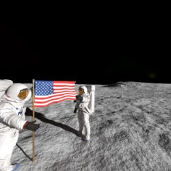 Astrounauts raising flag on the surface of the moon