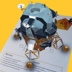 AR desktop Lunar Lander on Seymour & Lerhn crossword teaching resource
