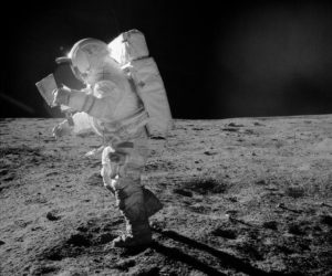 Astronaut Edgar Mitchell walking on the surface of the moon