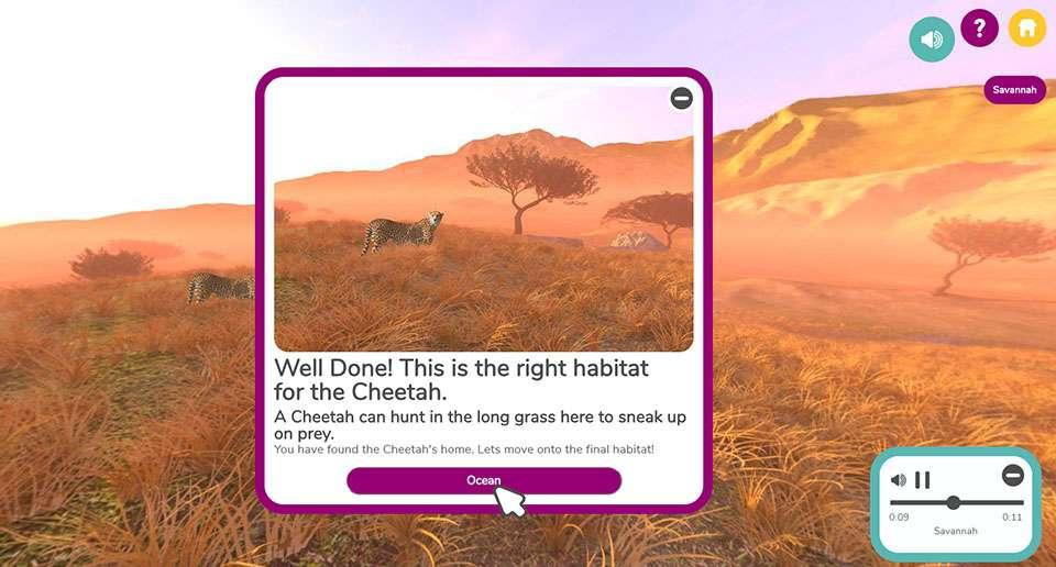 Animal Habitats game for KS1 showing savannah scene with cheetah correctly identified